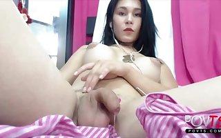 Big tits latina shemale cums on Cam