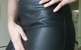 German Teen Crossdresser in Leather Clothes wear new Bo